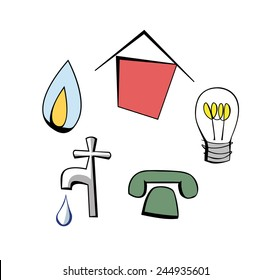 Cartoon pictures of a house, gas flame, light bulb, tap and telephone symbols