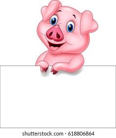 Cartoon pig with blank sign