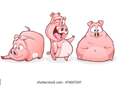Cartoon pig character set. Vector clip art illustration with simple gradients on white background