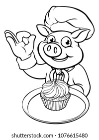 A cartoon pig chef or baker mascot character holding a fairy cup cake and doing a perfect hand gesture