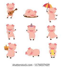 Cartoon pig. Cute smiling pigs playing in mud. Vector farm animal character set. Illustration of pig in mud, fun farm swine