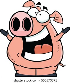 Cartoon pig with a happy expression.