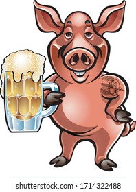 cartoon pig holding foaming beer in a mug