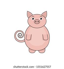 Cartoon pig illustration for design and web.