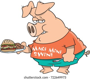 cartoon pig with a plate of food and wearing clothing