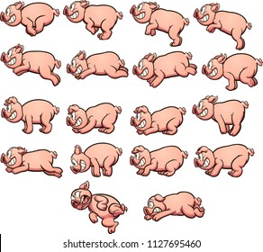 Cartoon pig sprites with running and jumping actions, ready for animation. Vector clip art illustration with simple gradients. Each on a separate layer.