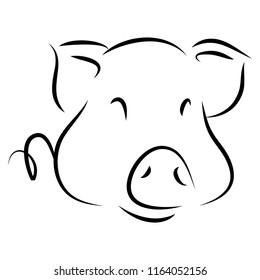 Cartoon Pig symbol, logo, Contour Design.
