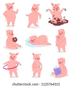 Cartoon pig vector piglet or piggy character and pink piggy-wiggy playing in puddle illustration piggish set of piggery mom hugging pigling baby isolated on white background