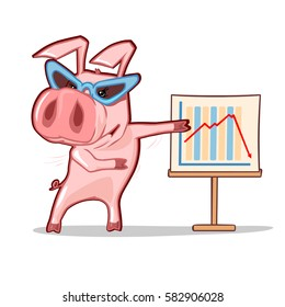 cartoon pig wearing glasses showing on the chart