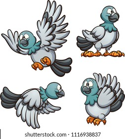 Cartoon pigeon in different positions. Vector clip art illustration with simple gradients. Each on a separate layer.