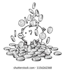 Cartoon piggy bank among falling coins on big pile of money. 2019 Chinese New Yea symbol. Wealth and success concept. Black and white sketch. Hand drawn  vector isolated on white background.