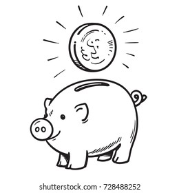 Cartoon piggy bank with coin. Black and white sketch. Hand drawn vector illustration isolated on white background.