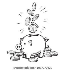 Cartoon piggy bank with falling coins. Black and white sketch. Hand drawn  vector illustration isolated on white background.