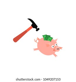 Cartoon piggy bank icon. Sad pig money box running away from golden claw hummer. Business finance, banking rich and weath concept. Vector isolated background illustration