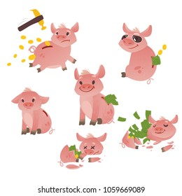 Cartoon piggy bank icon set. Cheerful pig money box full of savings with happy facial expression. Business finance, banking rich and weath concept. Vector isolated background illustration