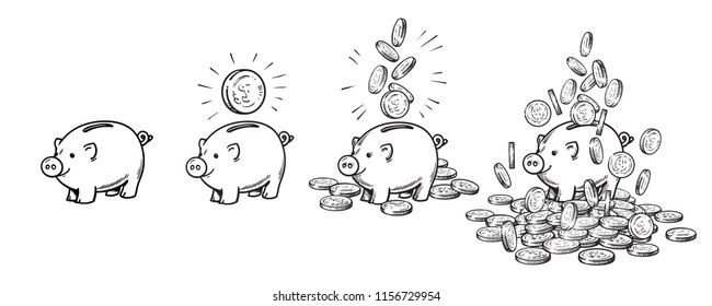 Cartoon piggy bank set. Empty, with one coin, with falling coins, heaped over money. Wealth and success concept. Black and white hand drawn sketch style vector illustration.