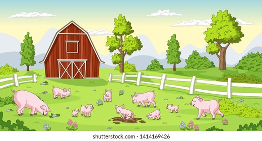 Cartoon pigs on a farm. Summer Landscape with red house and fence.