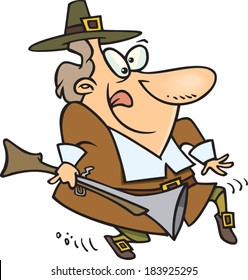 cartoon pilgrim man tiptoeing with a gun