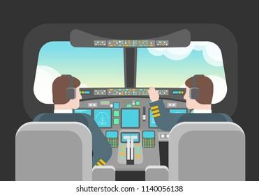 Cartoon Pilots Inside in Cockpit Concept Captain of Airplane Transportation Element Flat Design Style. Vector illustration of Pilot