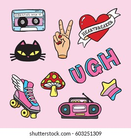 Cartoon pin badge icons from the 90s. Vector illustrations.
