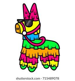 Cartoon Pinata Wearing Sunglasses