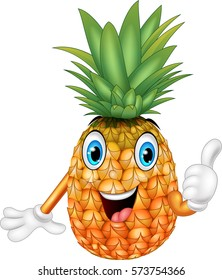 Cartoon pineapple giving thumbs up