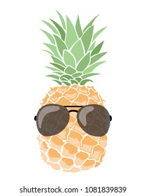 A cartoon pineapple in glasses. Colorful print of hipster pineapple. Picture of an exotic fruit. Fresh vitamins.