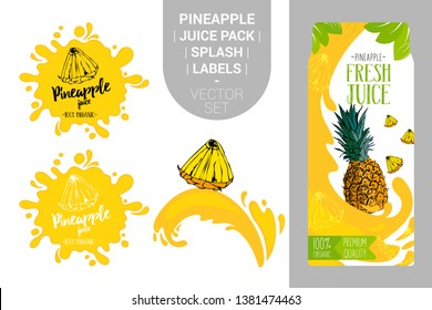 cartoon pineapple on juice splash. Fresh pineapple juice pack with Organic labels tags and green leaves. Colorful tropical stickers. Juicy ananas fruit badges with splash. Fruit vector package set