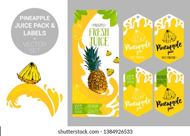 cartoon pineapple on juice splash. pineapple juice pack and organic fruit labels tags. Colorful tropical stickers. Juicy exotic fruit badges with splashes. Fruit vector package set for web and print.
