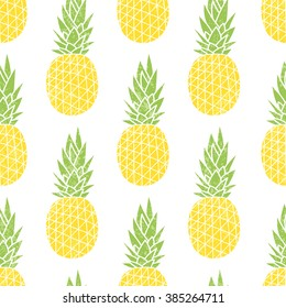 Cartoon pineapple on a white background. Simple vector background. Cute summer pattern. Seamless textile illustration in vintage style.