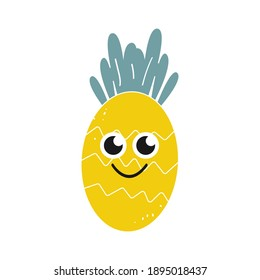 Cartoon pineapple with a smile on a white background, icon. Vector image isolated on a white background.