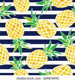 Cartoon pineapple. vector background. Cute summer pattern. Seamless textile illustration.