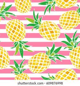 Cartoon pineapple. vector background. Cute summer pattern. Seamless textile illustration.