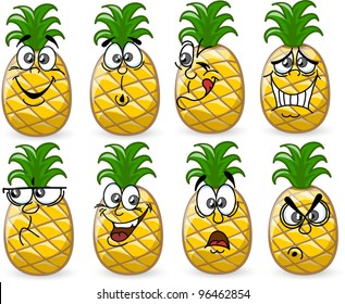 Cartoon pineapples with emotions