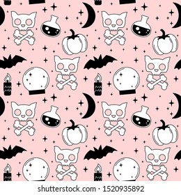 cartoon pink, black and white holidays seamless vector pattern background illustration with halloween elements: cat skull, bats, bones, moon, stars, candle and crystal ball
