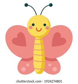 Cartoon pink butterfly with heart on wings. Cute smiling character for childish design. Flat vector illustration isolated on a white background.