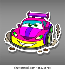 Cartoon pink car sticker for girls.Vector illustration for scrapbook.Transportation Applique Background. Funny smile pink car in paper cut style. Comic character for textile. Car on Valentine's Day.