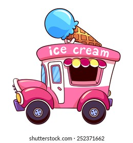 Cartoon pink ice cream truck on a white background