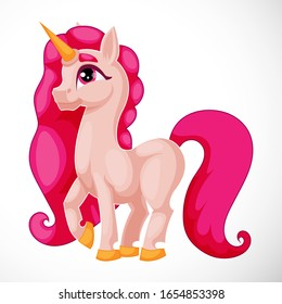 Cartoon Pink Pony Unicorn on White Background, Flat for Kids, Cartoon Character Child Drawing Vector Illustration