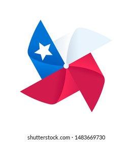 Cartoon pinwheel with Chilean flag design for Fiestas Patrias (Dieciocho), Chile Independence Day celebration. Classic wind toy spinner symbol. Isolated vector clip art illustration.