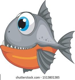 A cartoon piranha fish isolated on white background