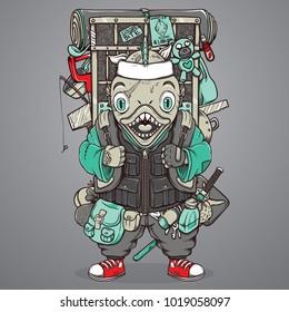 cartoon piranha vector illustration