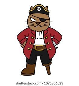Cartoon Pirate Cat