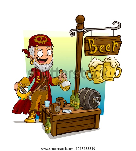 Cartoon Pirate Character Sword Rum Beer Stock Vector (Royalty Free