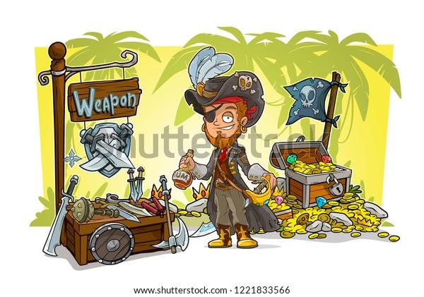 Cartoon Pirate Character Sword Rum Treasure Stock Vector (Royalty