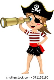 Cartoon pirate girl barefoot with eye patch observing the horizon with a telescope isolated