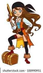 Cartoon pirate girl with powder gun and treasure chest