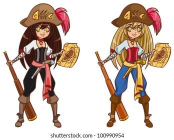 Cartoon pirate girl with treasure map and telescope