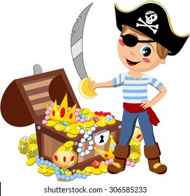 Cartoon pirate kid with eye patch and sword in front of treasure chest isolated