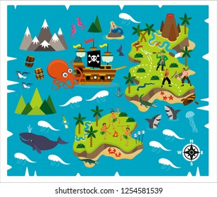 Cartoon Pirate Map Treasure, Travel Adventure. Vector Illustration.